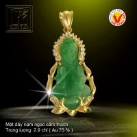 Mặt dây Ngọc cẩm thạch vàng 18K