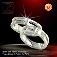 Nhẫn cưới vàng trắng 18K