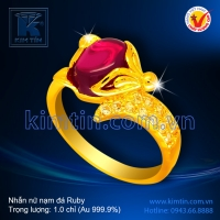 Nhẫn nữ vàng 24k nạm đá Ruby