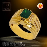 Nhẫn nam nạm đá Emerald
