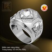 Nhẫn nam vàng trắng 18K
